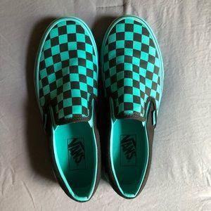Aqua And Black Checkered Vans Slip On
